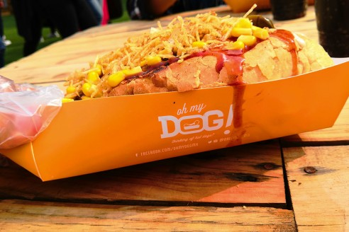 Hot Dog gigante con papas fritas de la marca oh my dog